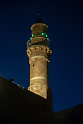 Israel, Tel Aviv - Jaffa, The turret of the El Baher mosque in old Jaffa at the entrance to the ancient port at dawn