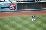 LOS ANGELES, CA - MAY 27:  Scott Elbert #57 of the Los Angeles Dodgers warms up in the outfield before the game against the Houston Astros on Sunday, May 27, 2012 at Dodger Stadium in Los Angeles, California. The Dodgers won the game 5-1. (Photo by Paul Spinelli/MLB Photos via Getty Images) *** Local Caption *** Scott Elbert