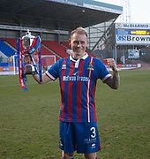 24th March 2018, McDiarmid Park, Perth, Scotland; Scottish Football Challenge Cup Final, Dumbarton versus Inverness Caledonian Thistle; Carl Tremarco of Inverness Caledonian Thistle with the Irn-Bru Cup after hsi added time winner had won the trophy