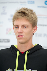 LIVERPOOL, ENGLAND - Thursday, June 21, 2012: Kevin Anderson (RSA) during a press conference on the opening day of the Medicash Liverpool International Tennis Tournament at Calderstones Park. (Pic by David Rawcliffe/Propaganda)