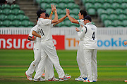 Chris Wright of Warwickshire celebrates taking the wicket of Marcus Trescothick of Somerset during the Specsavers County Champ Div 1 match between Somerset County Cricket Club and Warwickshire County Cricket Club at the Cooper Associates County Ground, Taunton, United Kingdom on 6 September 2016. Photo by Graham Hunt.