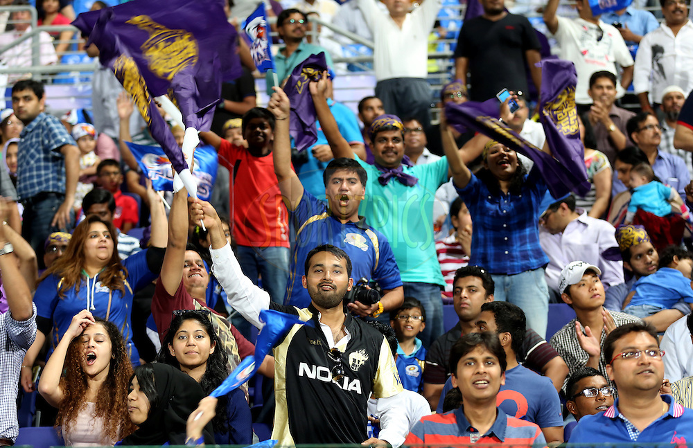 Fans during match 1 of the Pepsi Indian Premier League Season 7 between the Mumbai Indians and The Kolkata Knight Riders held at the Sheikh Zayed Stadium, Abu Dhabi, United Arab Emirates on the 16th April 2014<br /> <br /> Photo by Sandeep Shetty/ IPL / SPORTZPICS