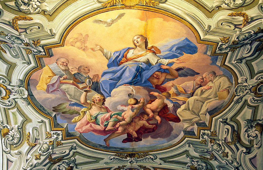 Ceiling painting of Mary mother of Christ in the nave vault of the church of La Martorana in city of Palermo, Sicily, Italy