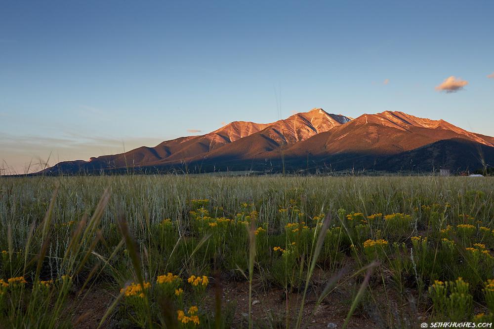 The sun rises on Mt. Princeton of the Collegiate Peaks near Buena Vista, Colorado.