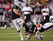 CANTON, OH - AUGUST 6:  Kicker Sebastian Janikowski #11 of the Oakland Raiders kicks the go ahead field goal for a 13-10 lead over the Philadelphia Eagles during the AFC-NFC Pro Football Hall of Fame Game at Fawcett Stadium on August 6, 2006 in Canton, Ohio. The Raiders defeated the Eagles 16-10. ©Paul Anthony Spinelli *** Local Caption *** Sebastian Janikowski