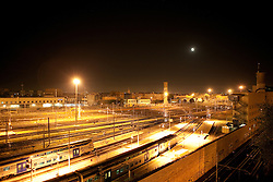 Termini Railway Station in Rome, Italy. In the night. view from Radisson Sas Hotel.Veduta dei binari della stazione Termini di Roma