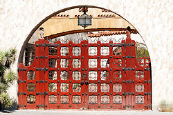 Red gate, Scotty's Castle, Death Valley National Park, California, United States of America