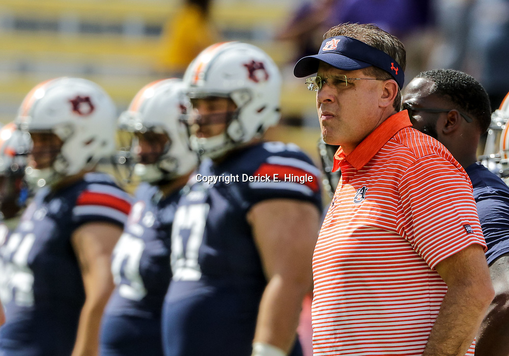 Oct 14, 2017; Baton Rouge, LA, USA; Auburn Tigers head coach Gus Malzahn before a game against the LSU Tigers at Tiger Stadium. Mandatory Credit: Derick E. Hingle-USA TODAY Sports