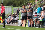 Forest Green Rovers assistant manager, Scott Lindsey and Forest Green Rovers manager, Mark Cooper watch on during the Pre-Season Friendly match between Forest Green Rovers and Bristol Rovers at the New Lawn, Forest Green, United Kingdom on 21 July 2018. Picture by Shane Healey.
