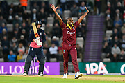 Miguel Cummins of West Indies appeals for an lbw against  Joe Root of England who is give not out during the One Day International match between England and West Indies at the Ageas Bowl, Southampton, United Kingdom on 29 September 2017. Photo by Graham Hunt.