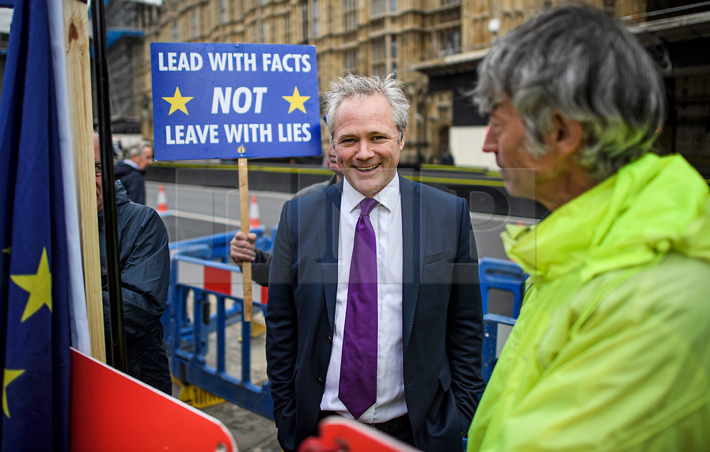 © Licensed to London News Pictures. 09/09/2019. London, UK. UKIP Leader RICHARD BRAINE (centre) is seen with Pro and Anti Brexit demonstrators at Parliament in Westminster, London. British Prime Minister Boris Johnson os expected to prorogue Parliament this evening, in the run up to Britain's planned Brexit deadline of October 31st. Photo credit: Ben Cawthra/LNP