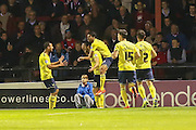 Oxford United celebrate Oxford United forward Danny Hylton goal during the Sky Bet League 2 match between York City and Oxford United at Bootham Crescent, York, England on 29 September 2015. Photo by Simon Davies.