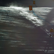 Winter Olympics, Vancouver, 2010.Maria Riesch, Germany, on her way to winning the Gold medal in the Alpine Skiing Ladies Super Combined, in action  as the early morning sun starts to break through during competition at Whistler Creekside, Whistler, during the Vancouver Winter Olympics. 18th February 2010. Photo Tim Clayton
