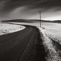Stormy skies and a dirt road in farming country, Eastern Washington.