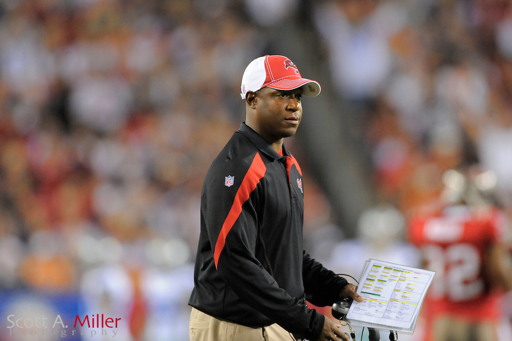 Tampa Bay Buccaneers head coach Raheem Morris during team's game against the Dallas Cowboys at Raymond James Stadium on Dec. 17, 2011 in Tampa, Fla. ..(SPECIAL TO FOXSPORTS.COM/Scott A. Miller)