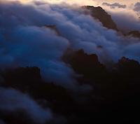 Clouds sea in the Caldera de Taburiente National Park, near el Roque de los Muchachos, La Palma Island, Canary Islands, Spain.
