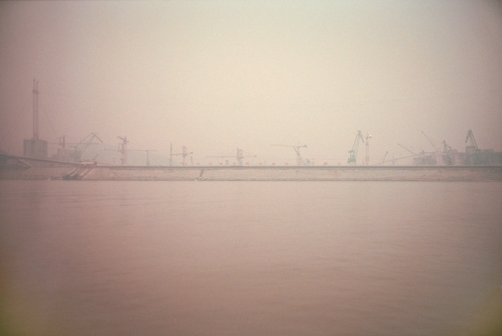 The Three gorges Dam that is still under construction, seen from the Yangtze river. China.