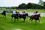 Greeley ridden by David Egan and trained by Rod Millman in the Weatherbys Racing Bank Foreign Exchange Handicap (Class 4) race. Carp Kid ridden by Finley Marsh and trained by John Flint in the Weatherbys Racing Bank Foreign Exchange Handicap (Class 4) race. Champs De Reves ridden by Megan Nicholls and trained by Michael Blake in the Weatherbys Racing Bank Foreign Exchange Handicap (Class 4) race. - Ryan Hiscott/JMP - 21/08/2019 - PR - Bath Racecourse - Bath, England - Race Meeting at Bath Racecourse