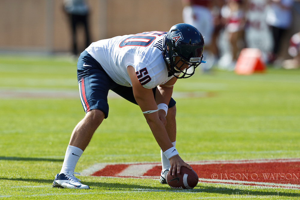 PALO ALTO, CA - OCTOBER 06: Long snapper Chase Gorham #50 of the Arizona Wildcats warms up before the game against the Stanford Cardinal at Stanford Stadium on October 6, 2012 in Palo Alto, California. The Stanford Cardinal defeated the Arizona Wildcats 54-48 in overtime. (Photo by Jason O. Watson/Getty Images) *** Local Caption *** Chase Gorham