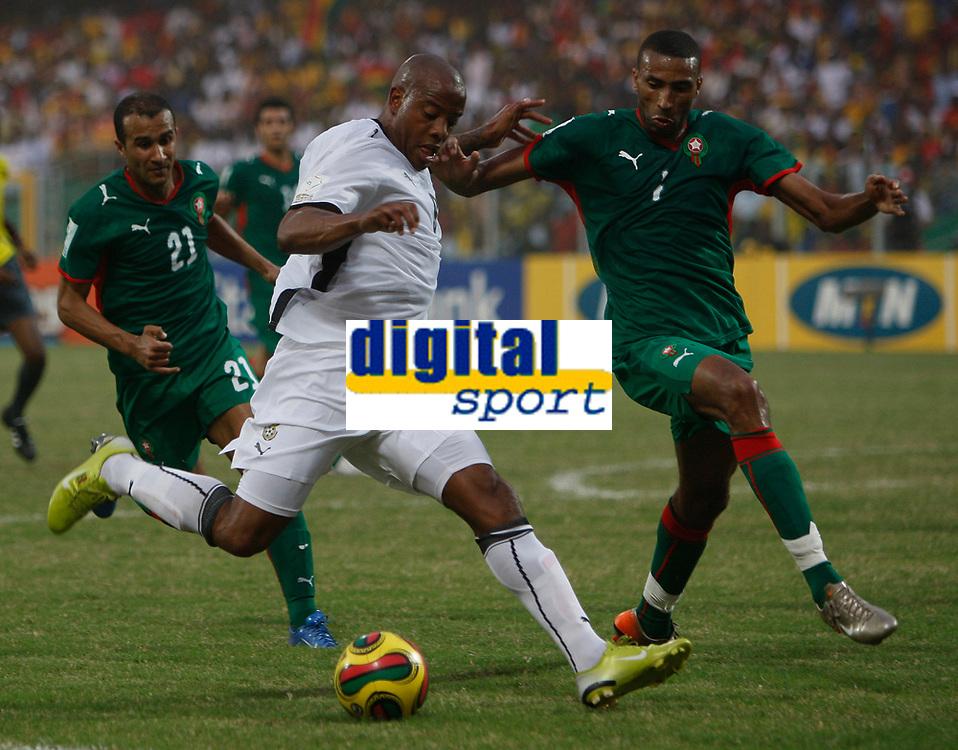 Photo: Steve Bond/Richard Lane Photography.<br />Ghana v Morocco. Africa Cup of Nations. 28/01/2008. Junior Agogo (C) on the attack