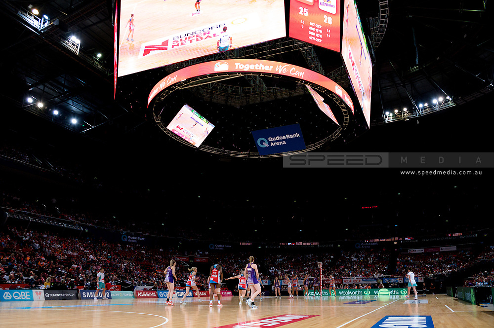 SYDNEY, AUSTRALIA - AUGUST 24: A general view during the round 14 Super Netball match between the Swifts and the Queensland Firebirds at Qudos Bank Arena on August 24, 2019 in Sydney, Australia.(Photo by Speed Media/Icon Sportswire)