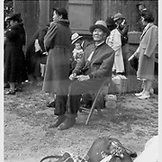 A grandfather awaits evacuation bus. Evacuees of Japanese ancestry will be housed in War Relocation Authority centers for the duration. -- Photographer: Lange, Dorothea -- Centerville, California. 5/19/42<br /> Identifier:<br /> Volume 60<br /> Identifier:<br /> Section G<br /> Identifier:<br /> WRA no. C-219<br /> Collection:<br /> War Relocation Authority Photographs of Japanese-American Evacuation and Resettlement Series 14: Preevacuation<br /> Contributing Institution:<br /> The Bancroft Library. University of California, Berkeley.