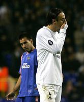 Photo: Tom Dulat.<br /> Tottenham Hotspur v Getafe. UEFA Cup. 25/10/2007.<br /> Dimitar Berbatov of Tottenham Hotspur can not hide his frustration.