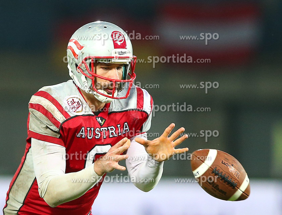 04.06.2014, UPC Arena, Graz, AUT, American Football Europameisterschaft 2014, Gruppe B, Frankreich (FRA) vs Oesterreich (AUT), im Bild Christoph Gross, (Team Austria, QB, #8) // during the American Football European Championship 2014 group B game between France vs Austria at the UPC Arena, Graz, Austria on 2014/06/04. EXPA Pictures © 2014, PhotoCredit: EXPA/ Thomas Haumer