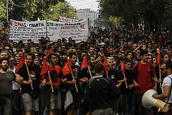 Students shout slogans uring a demonstration to protest against newly announced educational reforms and the lifting of the universities asylum, in Athens, Greece on 17 October 2019.<br /> <br /> <br /> Dimitris Lampropoulos    EEm date