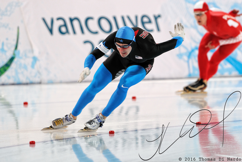 February 14, 2009 - 2010 Winter Olympics - Speedskating - Men's 500m - Mitch Whitmore competes in the 500m distance at the Richmond Olympic Oval.