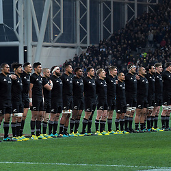 The All Blacks line up before the Steinlager Series international rugby match between the New Zealand All Blacks and France at Forsyth Barr Stadium in Wellington, New Zealand on Saturday, 23 June 2018. Photo: Dave Lintott / lintottphoto.co.nz