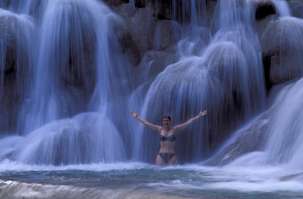 model released, Dunns River Falls, Waterfall, Ocho Rios, Jamaica, Caribbean
