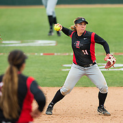 12 May 2018: San Diego State second baseman Katie Byrd (11) fields a ball hit up the middle for an out in the fourth inning. San Diego State women's softball closed out the season against Utah State with a 4-3 win on seniors day and sweep the series. <br /> More game action at sdsuaztecphotos.com