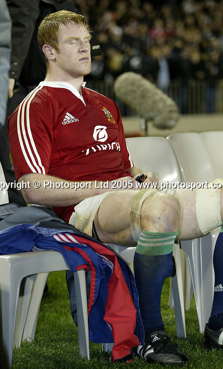 Lions Paul O'Connell looks down after the rugby test match between the All Blacks and the Lions played at Eden Park, Auckland, 09 July 2005. The All Blacks won 38-19 and the series 3-0. Photo: Michael Bradley/PHOTOSPORT