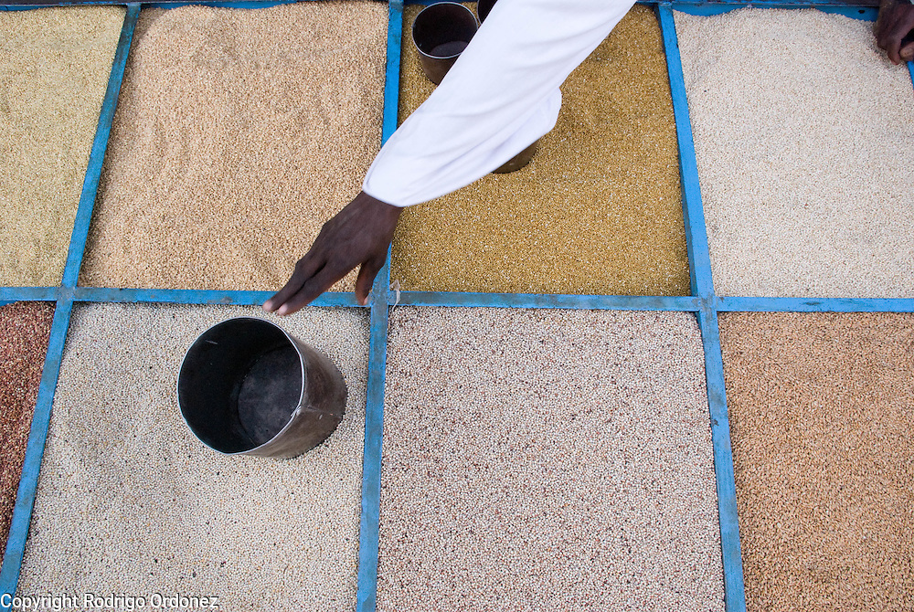 Grain for sale is on display at a store in the market of Abyei.