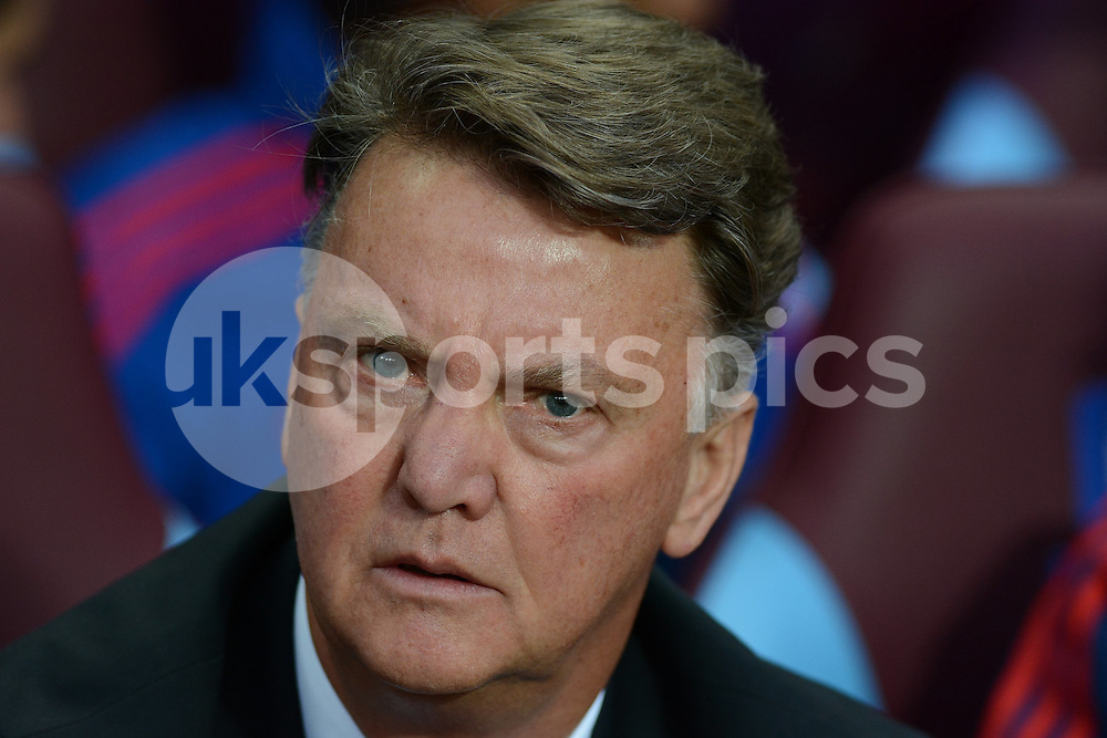 Manchester United manager Louis van Gaal prior to the Barclays Premier League match between Aston Villa and Manchester United at Villa Park, Birmingham, England on 14 August 2015. Photo by Garry Griffiths.