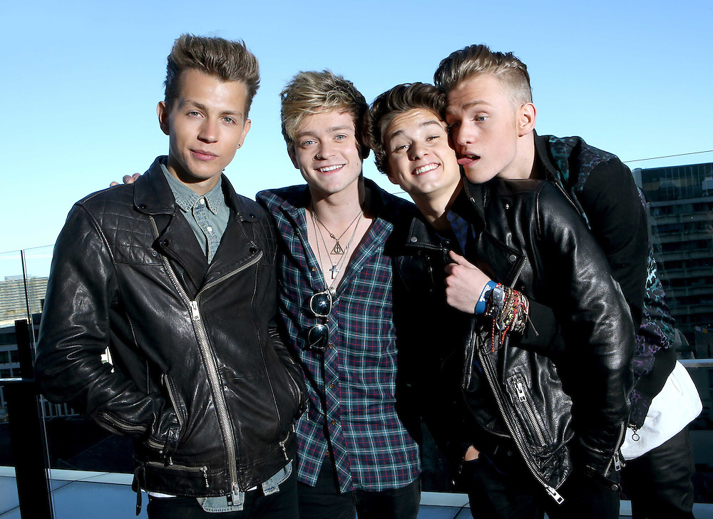 The Vamps, L-R,  James McVey, Connor Ball , Brad Simpson and Tristan Evans . The Vamps are a British pop rock band in Sydney and Brisbane for a promo tour.