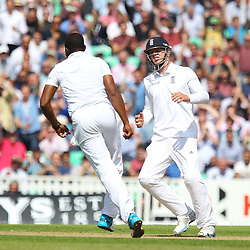 England's Chris Jordan celebrating his c and b of India's Ajinkya Rahane for 0 during the first day of the Investec 5th Test match between England and India at the Kia Oval, London, 15th August 2014 © Phil Duncan | SportPix.org.uk