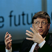 Microsoft Chairman Bill Gates answers a question posed by one the moderators of the Masterminds Panel discussion at the Gartner Groups SYMPOSIUM / ITXPO 98 on Wednesday Oct. 14, 1998 at the Walt Disney World Dolphin Hotel in Lake Buena Vista, Fla.  (AP Photo/Scott Audette)