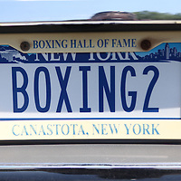 A boxing license plate as seen during the 23rd Annual International Boxing Hall of Fame Induction ceremony at the International Boxing Hall of Fame on Sunday, June 10, 2012 in Canastota, NY. (AP Photo/Alex Menendez)