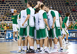 Team  of Slovenia before warming up before the EuroBasket 2009 Group F match between Slovenia and Lithuania, on September 12, 2009 in Arena Lodz, Hala Sportowa, Lodz, Poland.  (Photo by Vid Ponikvar / Sportida)