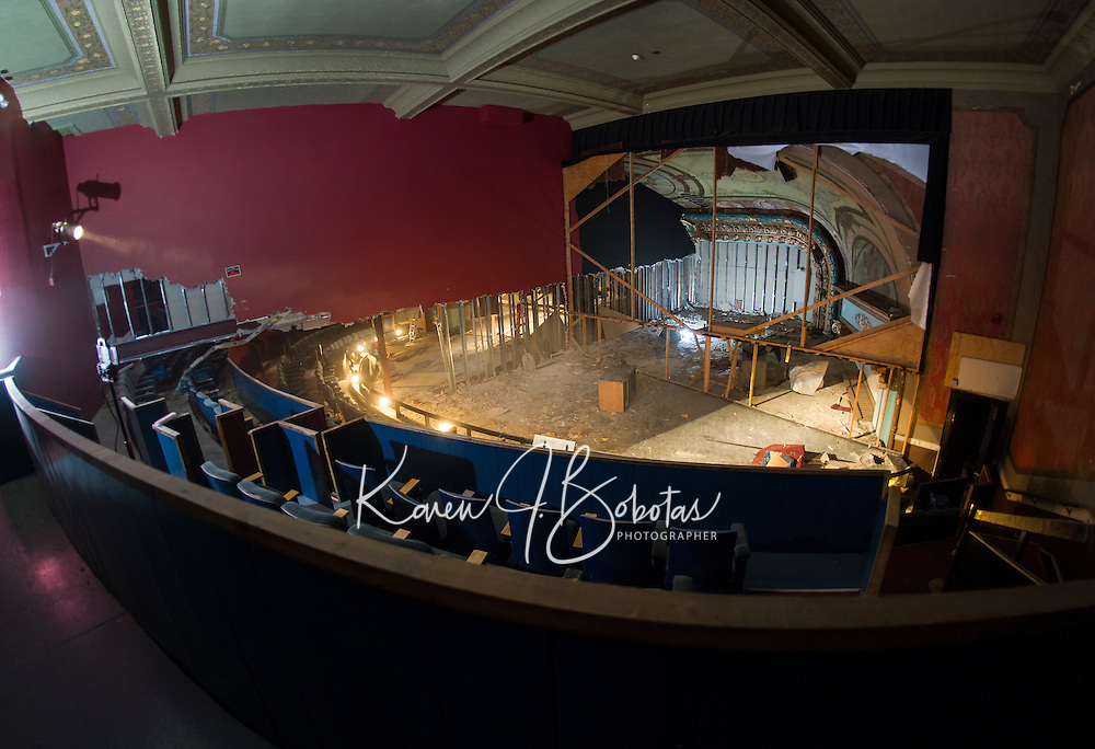 Renovation work done by Bonnette, Page and Stone at the Colonial Theater in downtown Laconia. Upper Balcony stage area showing middle partition wall.    ©2016 Karen Bobotas Photographer