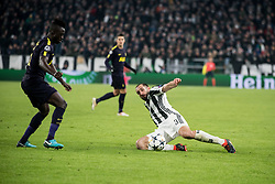 February 13, 2018 - Turin, Piedmont/Italy, Italy - Giorgio Chiellini (Juventus FC) during the Champions League match Juventus FC vs Tottenham Hotspurs FC. Final score was 2-2 in Juventus Stadium, Turin, Italy 13th february 2018  (Credit Image: © Alberto Gandolfo/Pacific Press via ZUMA Wire)