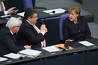 17 FEB 2016, BERLIN/GERMANY:<br /> Frank-Walter Steinmeier (L), SPD, Budnesaussenminister, und Sigmar Gabriel (M), SPD, Bundeswirtschaftsminister, und Angela Merkel (R), CDU, Bundeskanzlerin, im Gespraech, nach der Regierunsgerklaerung der Bundeskanzlerin zum Europaeischen Rat, Plenum, Deutscher Bundestag<br /> IMAGE: 20160217-03-041<br /> KEYWORDS: Debatte, Gespräch