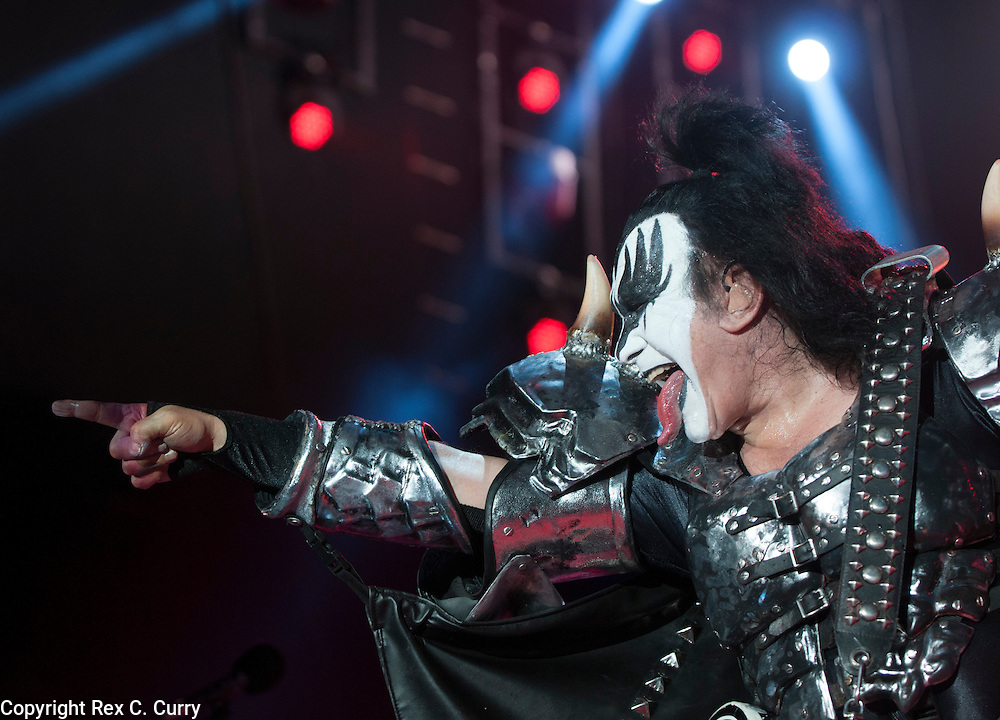 Gene Simmons of Kiss performs at Gexa Energy Pavilion on Saturday, August 4, 2012......(Rex C. Curry/Special Contributor)