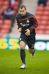 STOKE, ENGLAND - Saturday, January 16, 2010: Liverpool's Javier Mascherano warms-up before the Premiership match against Stoke City at the Britannia Stadium. (Photo by David Rawcliffe/Propaganda)