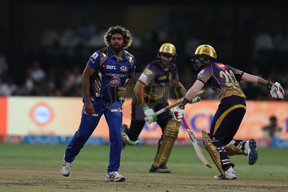 Lasith Malinga of the Mumbai Indians during the 2nd qualifier match of the Vivo 2017 Indian Premier League between the Mumbai Indians and the Kolkata Knight Riders held at the M.Chinnaswamy Stadium in Bangalore, India on the 19th May 2017<br /> <br /> Photo by Ron Gaunt - Sportzpics - IPL