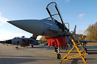 """03 NOV 2003, LAAGE/GERMANY:<br /> Eurofighter EF 2000 """"Typhoon"""" hier in der zweisitzigen Ausbildungsversion, neues Jagdflugzeug der Bundesluftwaffe, Jagdgeschwader 73 """"Steinhoff"""", Fliegerhorst Laage<br /> IMAGE: 20031103-01-067<br /> KEYWORDS: Bundeswehr, Bundesluftwaffe, Jet, Kampfflugzueg, am Boden"""