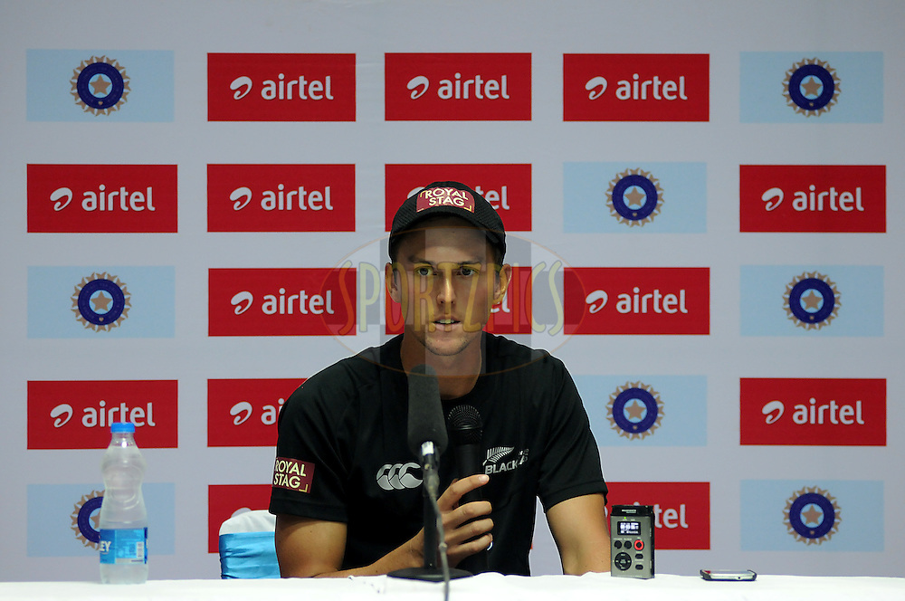 Trent Boult of New Zealand during a press conference after the days play on day one of the first test match between India and New Zealand held at The Rajiv Gandhi International Stadium in Hyderabad, India on the 23rd August 2012..Photo by: Pal Pillai/BCCI/SPORTZPICS