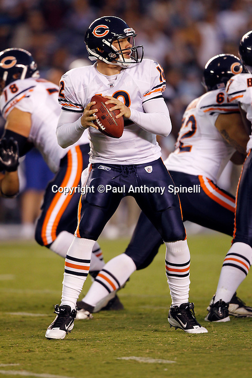 Chicago Bears quarterback Caleb Hanie (12) looks to pass during a NFL week 1 preseason football game against the San Diego Chargers, Saturday, August 14, 2010 in San Diego, California. The Chargers won the game 25-10. (©Paul Anthony Spinelli)